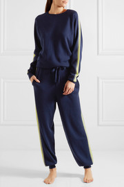 New York striped silk and cashmere-blend sweatshirt and track pants set