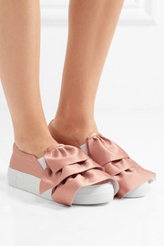 Ruffled satin slip-on sneakers