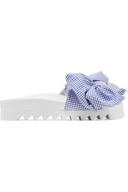 Joshua Sanders Gingham cotton and leather slides