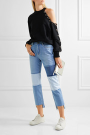 Patchwork cropped high-rise straight-leg jeans