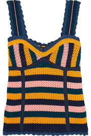 Striped crocheted cotton top
