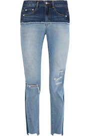 SJYP Steve J & Yoni P Two-tone distressed high-rise slim-leg jeans