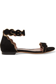 Pearl metallic leather-trimmed suede sandals