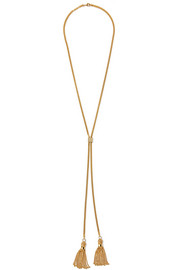 Lynn tasseled gold-plated necklace