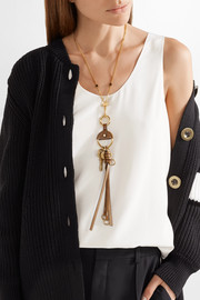 Nicole gold-tone leather necklace