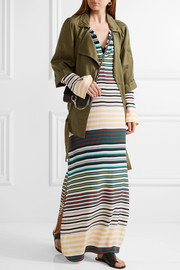 Niko striped washed-silk maxi dress