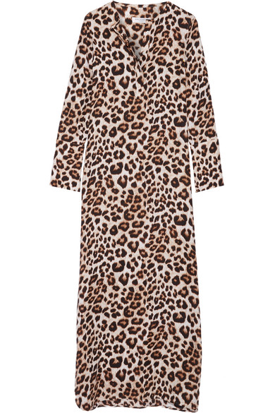 Equipment - Niko Leopard-print Washed-silk Maxi Dress - Leopard print