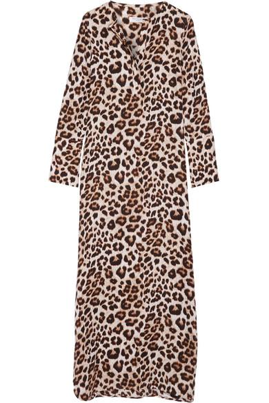 Equipment - Niko Leopard-print Washed-silk Maxi Dress - Leopard print
