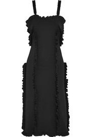 Ruffled bonded stretch-crepe dress