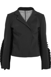 Paskal Tulle-paneled ruffle-trimmed cady jacket