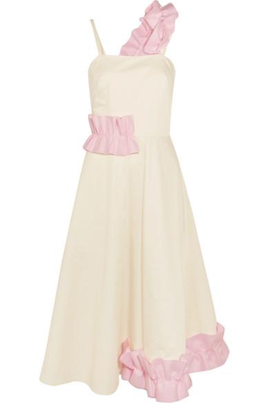 Paskal - Ruffle-trimmed Cotton-blend Midi Dress - Ecru