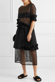 Ruffle-trimmed bonded stretch-crepe and organza skirt