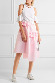 Asymmetric ruffle-trimmed matte-satin skirt