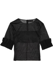 Ruffled bonded stretch crepe-trimmed organza top