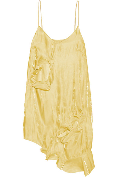 Marques' Almeida - Asymmetric Cutout Crinkled-satin Mini Dress - Yellow