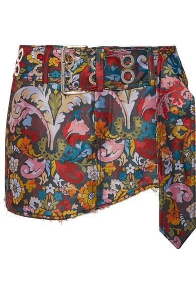 Frayed floral-jacquard mini skirt