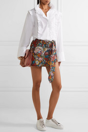 Frayed floral-jacquard mini skirt