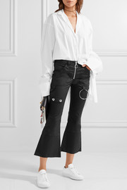 Embellished cropped twill flared pants