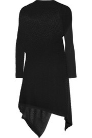 Asymmetric ribbed open-knit dress