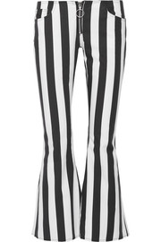 Marques' Almeida Cropped striped cotton-poplin flared pants