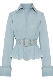 Oversized frayed cotton-chambray shirt