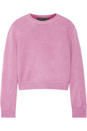Cropped whipstitched cashmere sweater