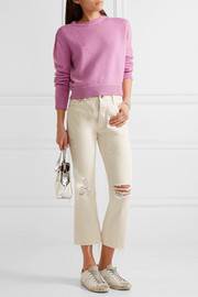 The Elder Statesman Cropped whipstitched cashmere sweater