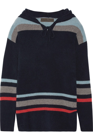 The Elder Statesman - Heavy Hockey Hooded Striped Cashmere Sweater - Navy