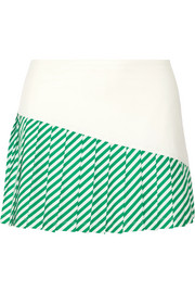 Pleated striped stretch-jersey tennis skirt