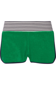 Striped cotton-terry shorts