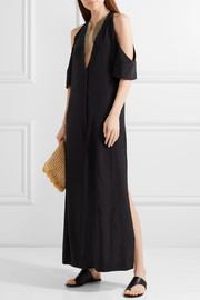Lyre cold-shoulder silk crepe de chine maxi dress