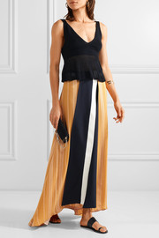 Anthea crepe-trimmed silk-blend jacquard maxi skirt