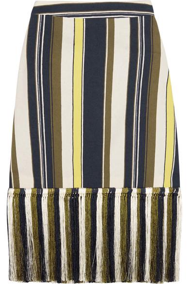 ZeusDione - Zephyr Fringed Striped Slub Silk Skirt - Blue
