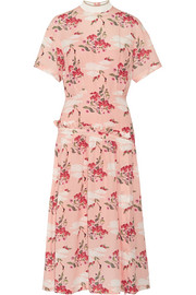 Twilla printed silk-georgette midi dress