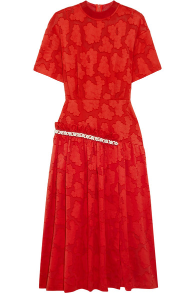 Mother of Pearl - Twilla Embellished Burnout Cotton Midi Dress - Red
