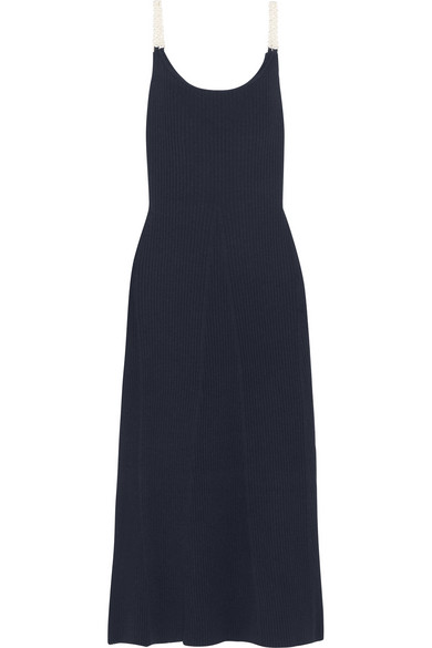 Mother of Pearl - Lutie Embellished Ribbed Wool-blend Maxi Dress - Navy