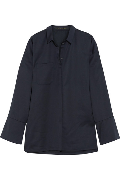 Mother of Pearl - Chester Embellished Jersey Shirt - Navy