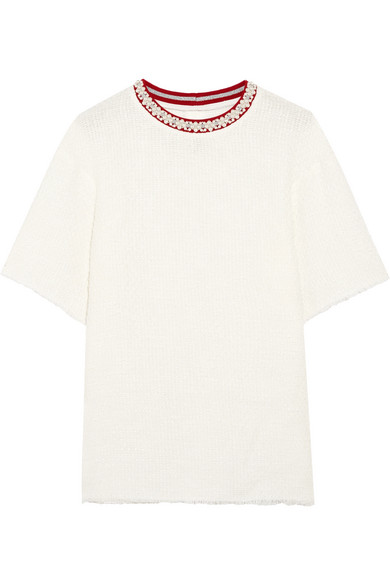 Mother of Pearl - Vince Frayed Embellished Cotton-blend Bouclé T-shirt - White