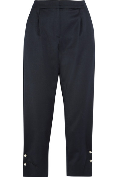 Mother of Pearl - Jewell Embellished Satin Tapered Pants - Navy