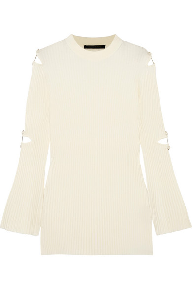 Mother of Pearl - Aurora Embellished Cutout Wool-blend Sweater - Cream