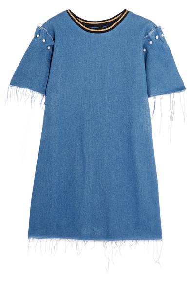 Mother of Pearl - Lloyd Frayed Embellished Denim Mini Dress - Mid denim