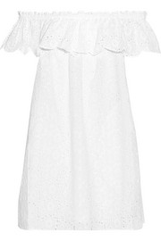 Off-the-shoulder broderie anglaise cotton mini dress
