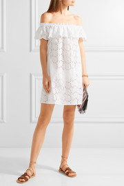 Tory Burch Off-the-shoulder broderie anglaise cotton mini dress