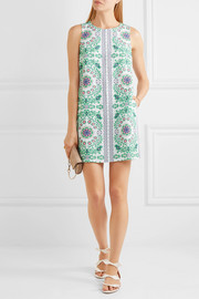 Tory Burch Garden Party printed linen-blend mini dress