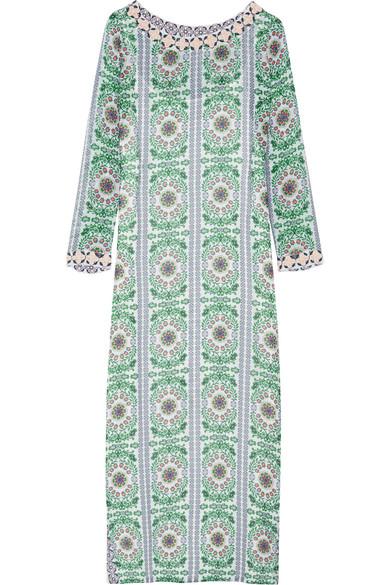 Tory Burch | Garden Party Beaded Printed Silk Chiffon Maxi Dress |  NET A PORTER.COM