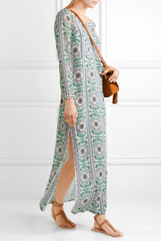 Tory Burch Garden Party beaded printed silk-chiffon maxi dress