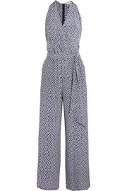 Wrap-effect polka-dot silk crepe de chine jumpsuit