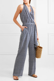 Tory Burch Wrap-effect polka-dot silk crepe de chine jumpsuit