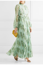 Ruffled lace-trimmed floral-print silk-chiffon gown