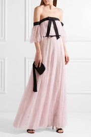 Giambattista Valli Off-the-shoulder Chantilly lace gown